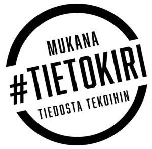 """Tietokirin logo, jossa teksti """"Mukana #Tietokiri - Tiedosta tekoihin""""."""