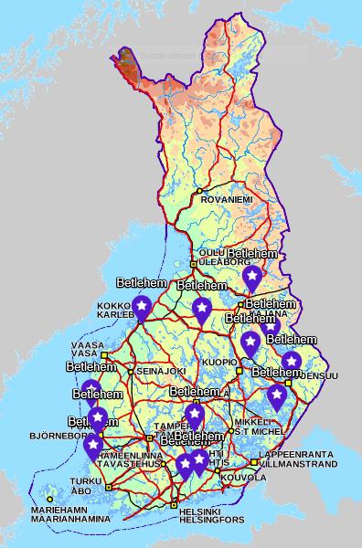 Betlehem-nimiset paikat Suomen kartalla
