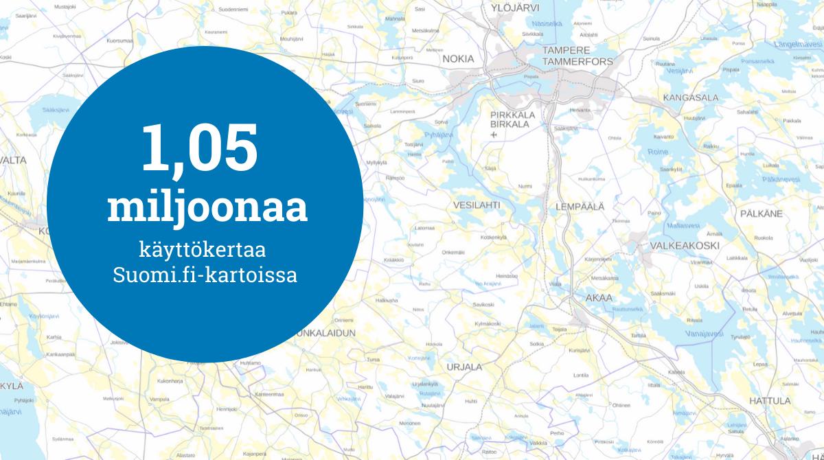 1,05 miljoonaa käyttökertaa Suomi.fi-kartoille.
