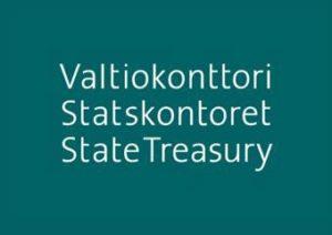 Valtiokonttorin tumman turkoosi logo.