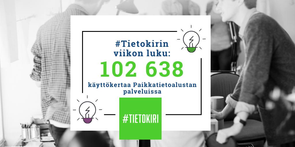 Tietokirin viikon luku on 102 638, joka kertoo Paikkatietoalustan palveluiden käyttömäärän.